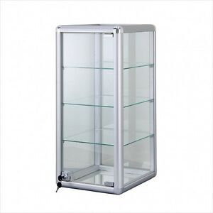 Glass Countertop Tall Display Case With Front Lock