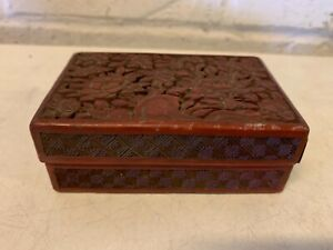 Vintage Possibly Antique Chinese Cinnabar Floral Decorated Box
