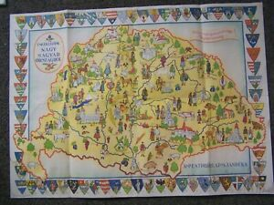 Antique Hungarian Paper Map