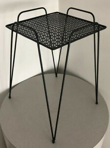 Vintage Mid Century Danish Modern Atomic Retro Hairpin Plant Stand End Table