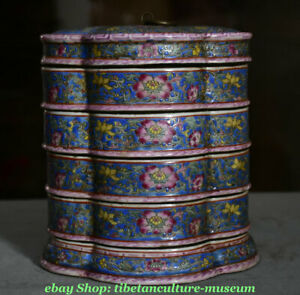 7 Marked Old Chinese Palace Famille Rose Porcelain 5 Layer Flower Food Box