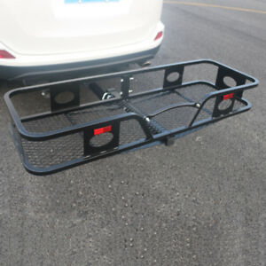 Luggage Box 2 Receiver Hitch Mounted Car Rear Rack Folding Cargo Carrier Black