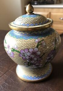 Beautiful Chinese Cloisonne Enameled Ginger Jar Vase Urn With Lid Flowers Design