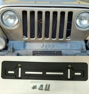 Front License Plate Tag Holder Mounting Bumper Kit Bracket For Jeep