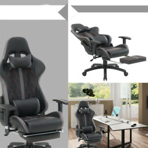 High Back Racing Office Chair Pu Leather Computer Gaming Chair Headrest Footrest