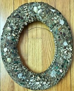 Vintage Oval Wood Frame Picture Shells Shabby Cottage Small