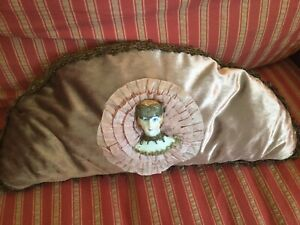 Antique Velvet Pillow With Flapper Style 1 2 Doll French Metal Work Lace Trim