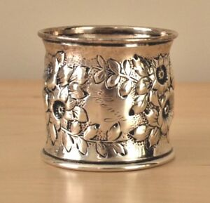 George Shiebler Floral Repousse Sterling Silver Napkin Ring Henry