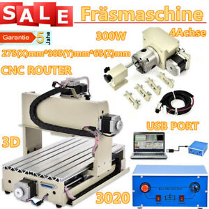 4 Axis Cnc3020 Router Engraver Usb Woodwork Carving Milling Drilling Machine New