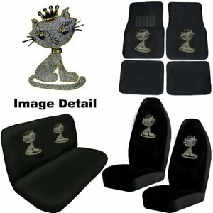 White Kitty W crown Crystal Studded Rhinestone Floor Mats Seat Covers Combo