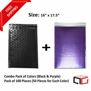 50 Each Combo Pack Of Black Purple Padded Bubble Mailers 16x17 5 total 100