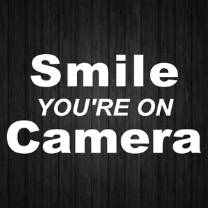 Smile You re On Camera Sign Sticker Business Store Window Door Wall Decals