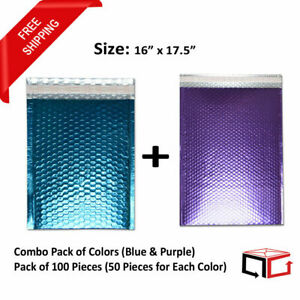 50 Each Combo Pack Of Blue Purple Padded Bubble Mailers 16x17 5 total 100