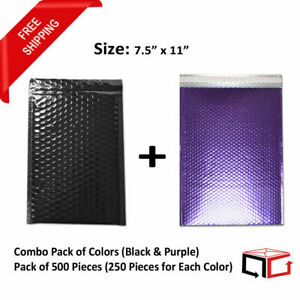 250 Each Combo Pack Of Black Purple Padded Bubble Mailers 7 5x11 total 500
