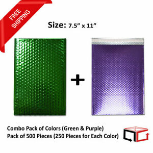 250 Each Combo Pack Of Green Purple Padded Bubble Mailers 7 5x11 total 500