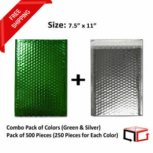 500 Bags 7 5x11 Combination Of Green Silver Glamour Bubble Mailers 250 Each