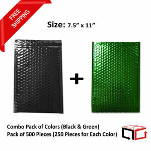 500 Pieces Combination Of Black Green 7 5x11 Metallic Bubble Mailers 250 Each