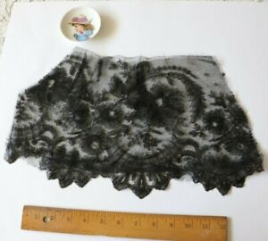 Antique French Black C1860 Chantilly Lace Floral Flounce Lined With Net 15 X7 5