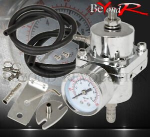 Universal Jdm Silver Adjustable Fuel Pressure Regulator Fpr With Psi Gauge