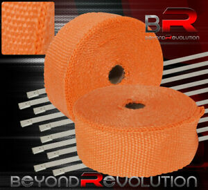 360 30ft Catback Exhaust Header Pipe Piping Aluminum Stainless Heat Wrap Orange