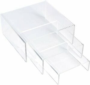 3 set Simbalux Acrylic Display Risers Clear Stand Medium Low Profile Tiered