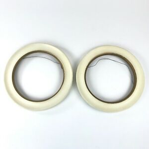 Set Of 2 Vintage Round Wood Picture Frames Wall Hanging Wires Painted No Glass