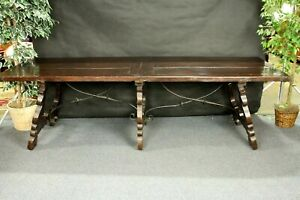 Antique Refectory Table Iron Stretchers Very Old Spanish Long