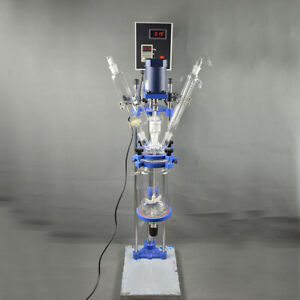 Intbuying 5l Chemical Lab Jacketed Glass Reactor Vessel Digital Display