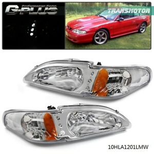 2pc Projector Head Lights Lamps Ford Mustang 1994 1998 Halo Led Chrome