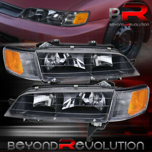 For 94 97 Accord Black Housing Replacement Head Lights Assembly Corner Lamps