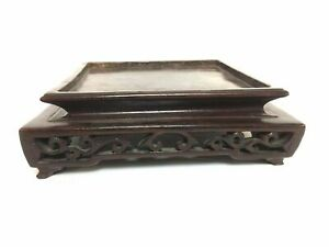Carved Wood Chinese Vase Bowl Plate Stand Square