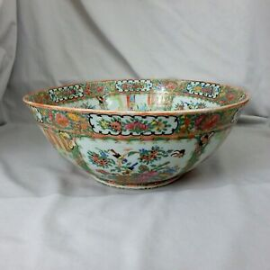 Large 19th C Chinese Export Porcelain Rose Medallion Punch Bowl 15 3 4 Dia