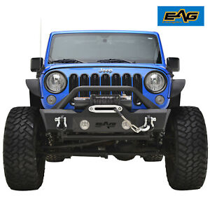 Eag Stubby Front Bumper With Fog Light Holes Fit 2007 2018 Jeep Wrangler Jk