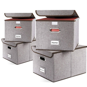 Prandom File Organizer Boxes Collapsible Decorative Linen Storage Hanging With