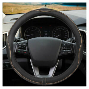 38cm Car Genuine Leather Steering Wheel Cover Comfrotable Soft Anti Slip Grip Us