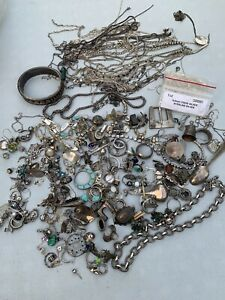 Sterling Silver Mixed Lot Jewelry Some Scrap 725 Grams