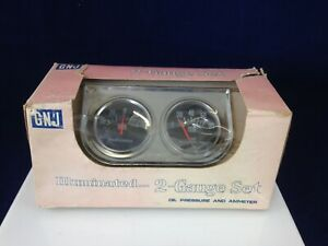 Gnj Vintage 2 gauge Set Illuminated Oil Pressure And Ammeter Gauges New In Box
