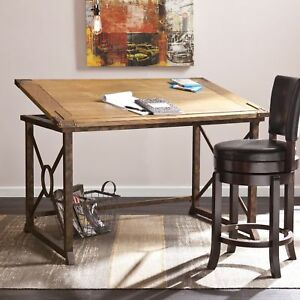 Rustic Industrial Mdf Wood Tilt top Metal Frame Drafting Table Desk Oak brass