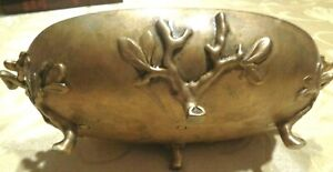 Antique Bronze Brass Oval Decorative Footed Handles Candy Dish 8 X 4 1 4
