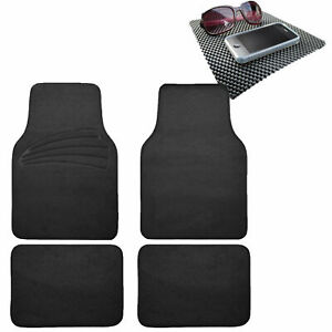 4pcs Full Carpet Floor Mats Universal Fit For Car Suv Black W Dash Mat