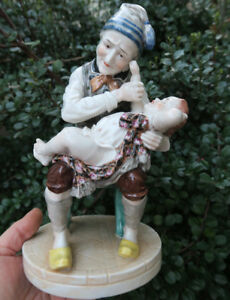 Antique Porcelain Figurine Germany Mr Punch And Baby From Punch And Judy Show