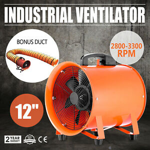 12 Extractor Fan Blower Portable 5m Duct Hose Utility High Rotation Exhaust