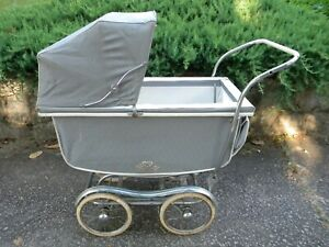 Vintage Pram Carriage Stroller Made In Massachusetts Lots Of Chrome