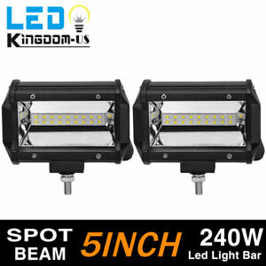 5inch 240w Led Work Light Bar Spot Flood Pods Driving Off Road Tractor 4wd 12v