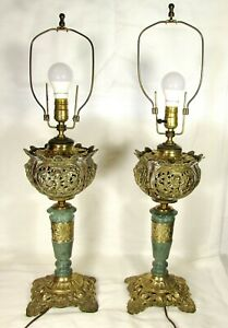 Vintage Pair Rococo Cast Brass Metal Cherub Table Lamps Celadon Green Stone
