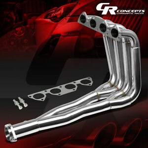 Stainless 1pc Tri Y 4 2 1 Exhaust Manifold Header For B Series B18 B16 B20 Dc