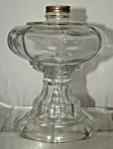 Antique 1880s 90s Octagon Crystal Glass Eapg Glass Oil Table Lamp Base Only