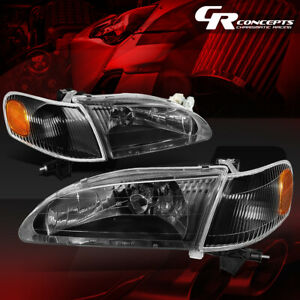 Black Housing Amber Side Headlight lamps Replacement For 98 00 Toyota Corolla