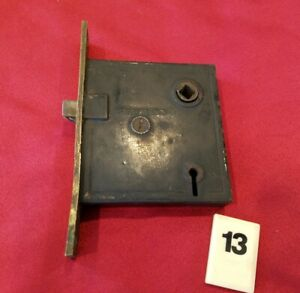 Vtg Mortise Door Lock Skeleton Key Deadbolt Brass Faceplate Entry Working B13