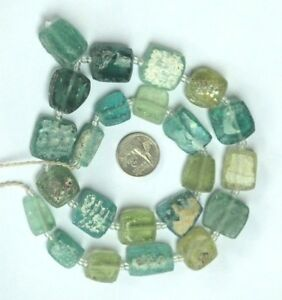 Ancient Roman Glass Old Square Beads 18th Century Necklace 18 Pcs Mixed Random